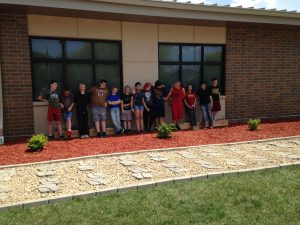 PBL students with their finished landscaping project.