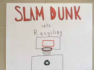A student created poster about recycling.